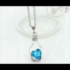 Jewelry - Aquamarine Heart in A Bottle Necklace adjustable